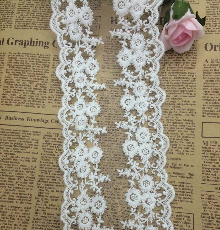 30 Yards New White Lace Ribbon 12cm Cotton Lace Trim Ribbon Embroidered Lace  Venice Floral Wide Scallop Bridal Lace Wedding-in Lace from Home & Garden  on ...