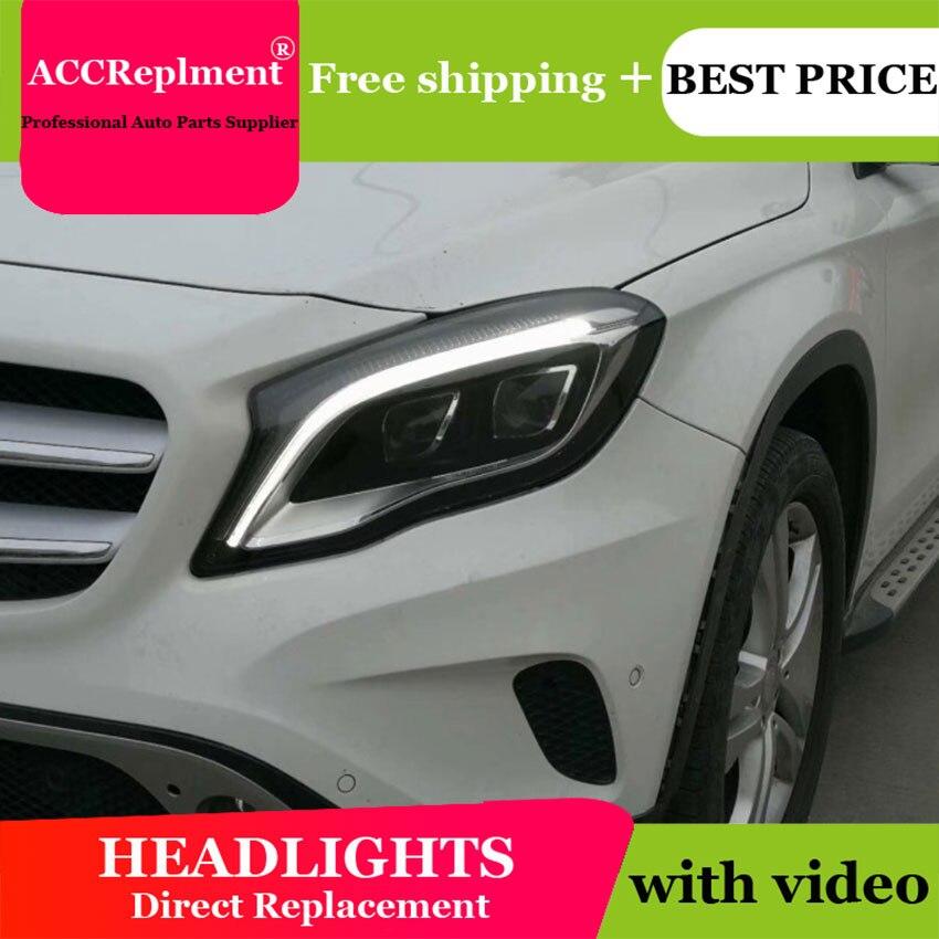 Car Styling for Benz GLA Headlights 2015-2019 LED Headlight Lens Double Beam H7 HID Xenon bi xenon lens daytime running light