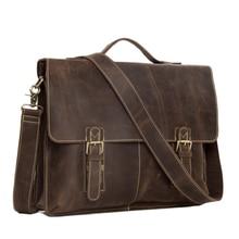 High class Men's Italian Leather Messenger Bag 15″laptop Briefcase Shoulder Bag 7037
