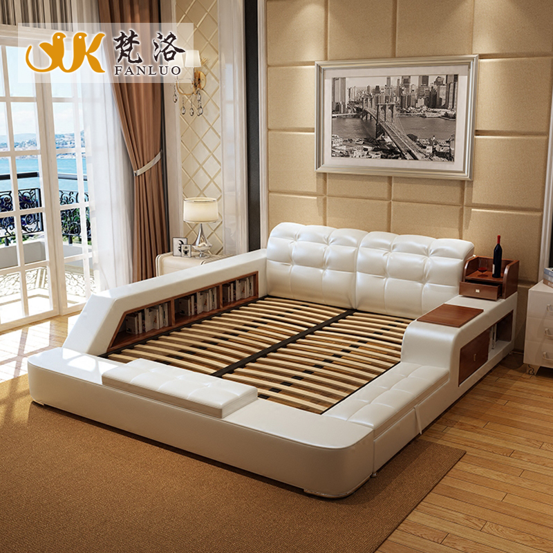 Queen size marco de la cama de almacenamiento con laterales de cuero ...
