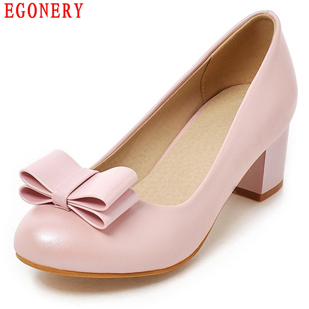 EGONERY  Round Toe Sweet Bowtie Faux Leather Low Heel Slip On Spring Air Womens Dress Shoes Pump Woman Shoe egonery new sweet lady round toe faux leather slip air spring dress women pumps heels shoes plus size us 12