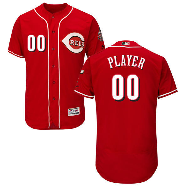 MLB Mens Cincinnati Reds Baseball Alternate Scarlet Home White Flex Base Authentic Collection Custom Jersey
