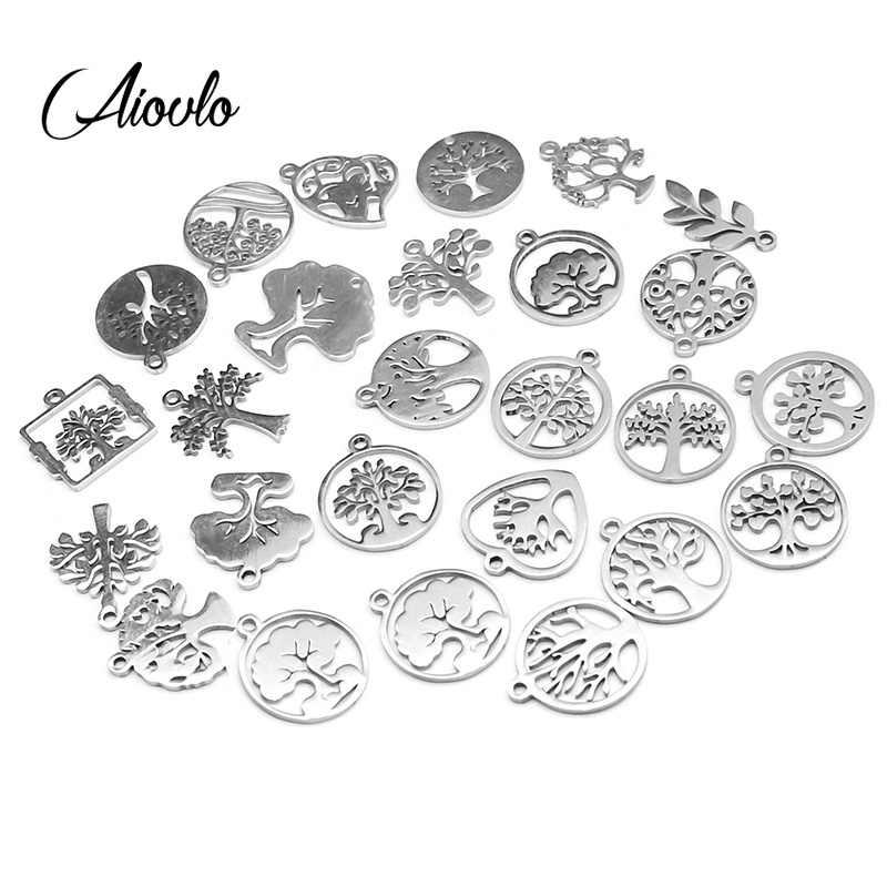 10 pçs/lote misturado aço inoxidável vida árvore de metal flutuante encantos artesanal diy europeu para pulseiras & pingentes jóias fazendo
