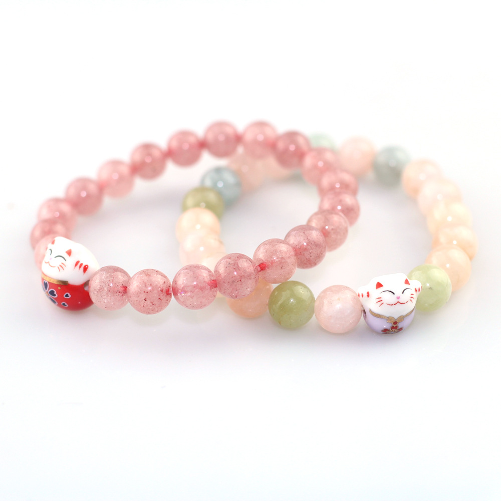 Ceramic Fortune Cat Strawberry Crystal Boys Girls Souvenir Gift Couple Lovers 8mm Beads Men Women's Jewelry