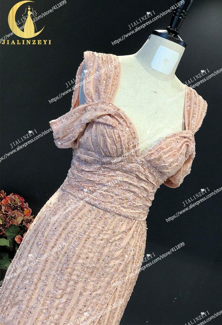 JIALINZEYI réel échantillon nu bateau cou complet luxueux perles en mousseline de soie Elie saab robe pour les robes de soirée de fête - 3