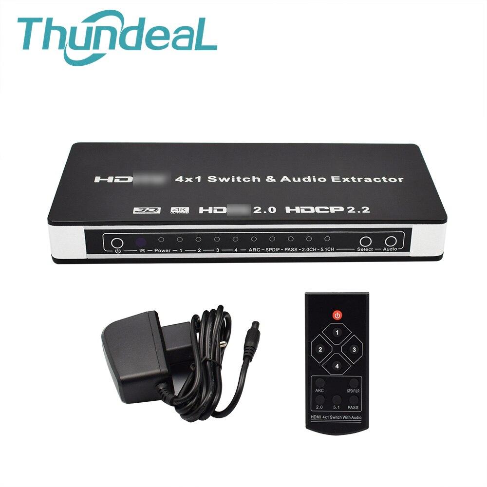 ThundeaL HDMI 2.0 4 à 1 Commutateur HDMI Audio Extractor pour XBOX DVD TV 4x1 2.0 HDMI Switcher 4 k 60 hz 3D ARC Vidéo Audio SPDIF RCA