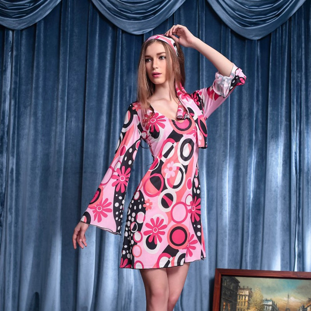 70\'s vintage vestido hippie estilo Flare manga Rosa vestido floral ...