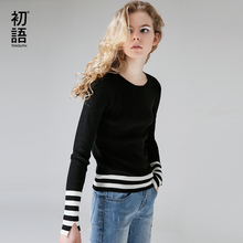 Toyouth Knitted Sweater 2017 Autumn Women Striped Contrast Color O-Neck Long Sleeve Split Slim Fit Sweaters
