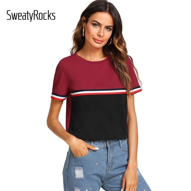 dafbc5704a0 SweatyRocks Striped Tape Detail Cut and Sew T-shirt 2018 Summer Active Wear  Tee Women