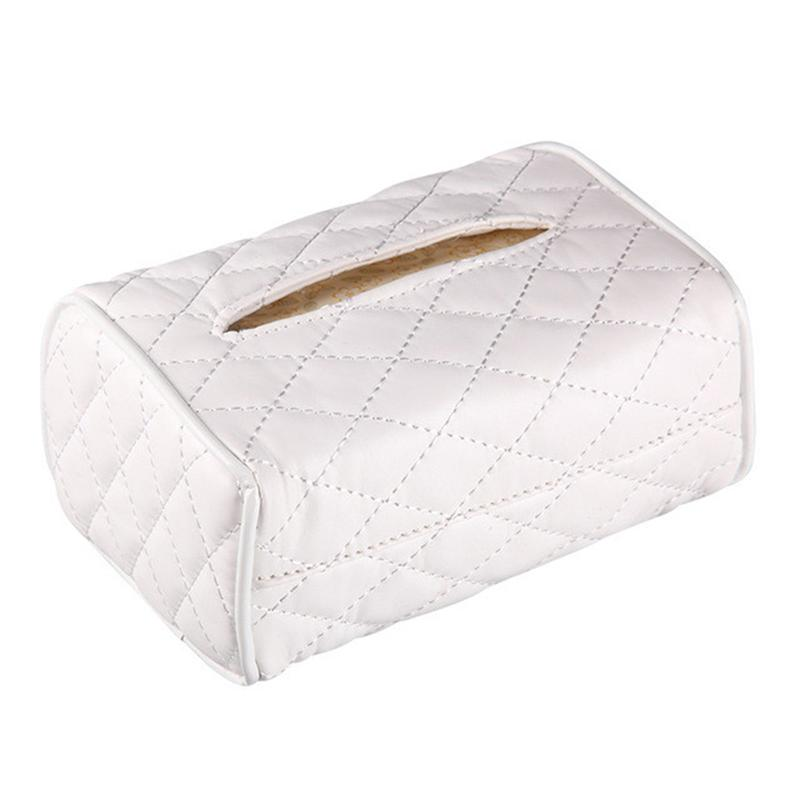 Soft PU Leather Suspension Rectangle Tissue Box Cover Holder For Car Sun Visor Chair Back-Mounted Car Interior Tissue Box