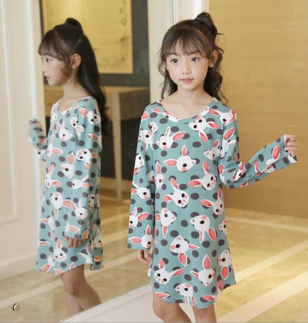 2019 New Spring Autumn Girls Nightgown Long Sleeve Pajamas For Girl  Children Sleepwear Cartoon Kids Night Dress Teen Nightdress 1df143b5d
