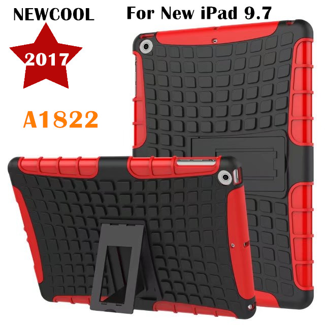NEWCOOL Amor Back Cover for Apple NEW iPad 9.7 2017 A1822 Tablet Case Tire Grain TPU+PC Heavy Duty Case Hybrid Rugged Rubber