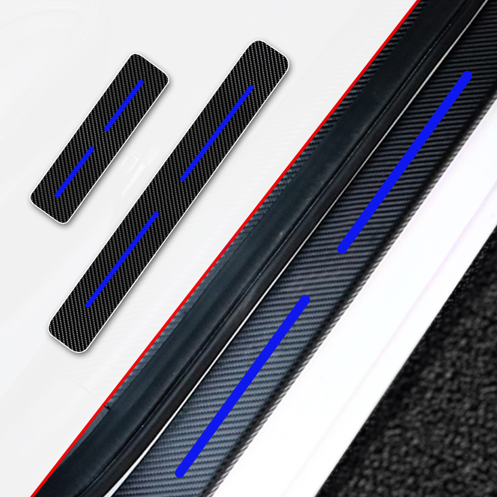 For CAPTIVA 4D M Car Pedal Covers Door Sill Protectors Entry Guard Scuff Plate Trims Anti-Scratch Reflective Carbon Fiber Stickers Auto Accessories Exterior Styling 4Pcs Blue