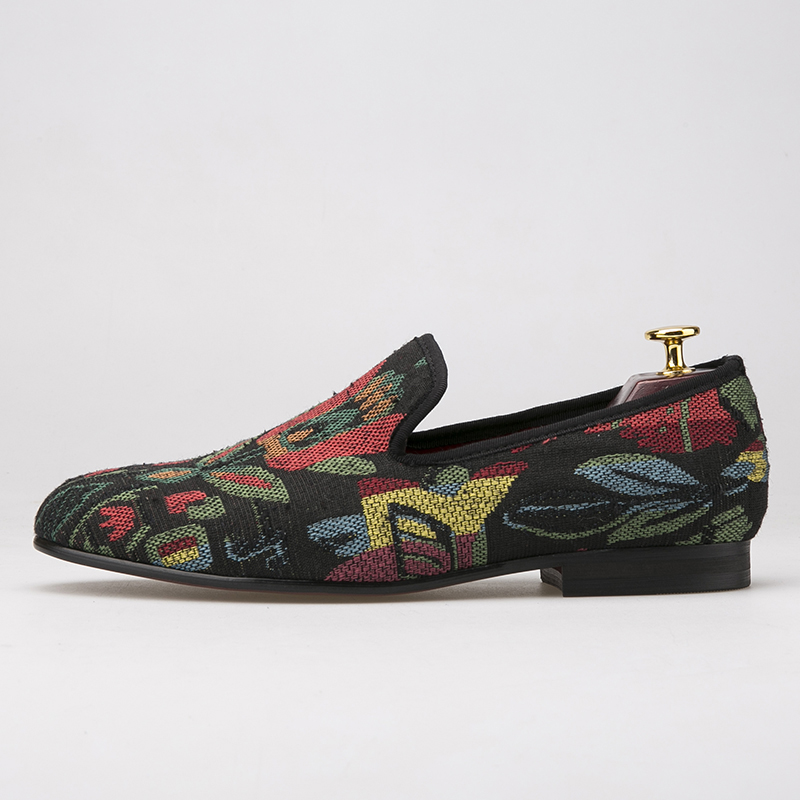 mixed color abstract flower men shoes Fashion handmade loafers occident style smoking slipper mens flatsmixed color abstract flower men shoes Fashion handmade loafers occident style smoking slipper mens flats