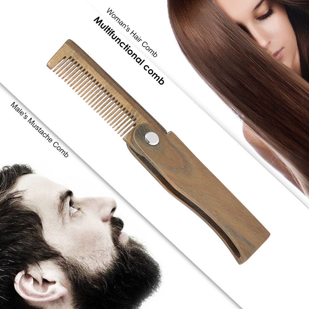 Mini Pocket Wooden Folding Beard Comb Men's Beard Hair Brush Anti-static Mustache Combs Male Facial Massage Hair Styling Tool 4