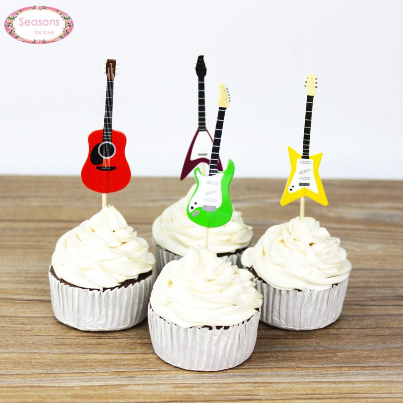 Us 1 97 28 Off New 24pcs Guitar Design Cupcake Toppers Paper Cake Picks Party Supplies Music Theme Party Decorations Cupcake Accessories In Cake