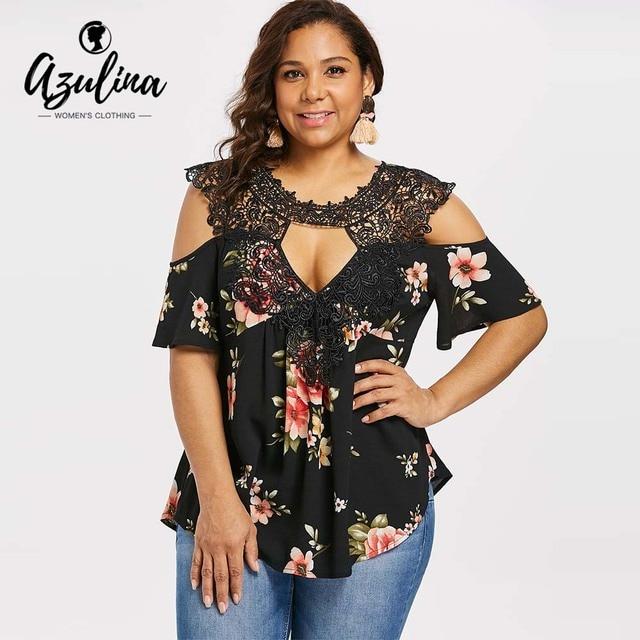 fcf0627dd48 AZULINA Plus Size Floral Lace Keyhole Neck Blouse Casual Women Blouses Summer  Cold-Shoulder Half