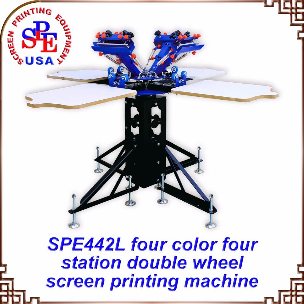 Color press printing - Spe442l Four Color Four Station Double Wheel Screen Printing Machine Tshirt Platen Screen Press
