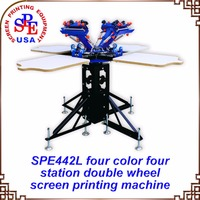 SPE442L Four Color Four Station Double Wheel Screen Printing Machine Tshirt Platen Screen Press