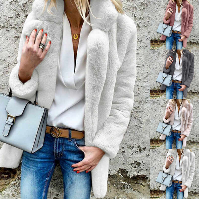 Women Wool Jacket Pink Faux Fur Coat Turn Down Collar Fur Overcoat for Pregnant Women Outwear Maternity Long Sleeve Fuzzy Jacket