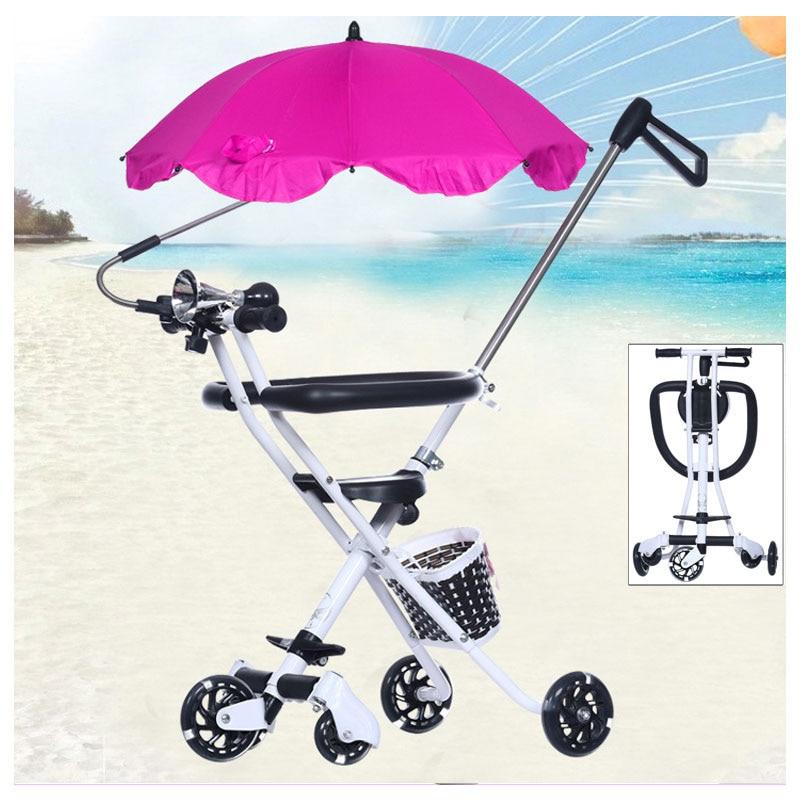 Lima Wheels Portable Foldable Baby Stroller Travel Trike Carbon Steel Tricycle Bike Handbar Pushchair Child Walker Pram Buggy