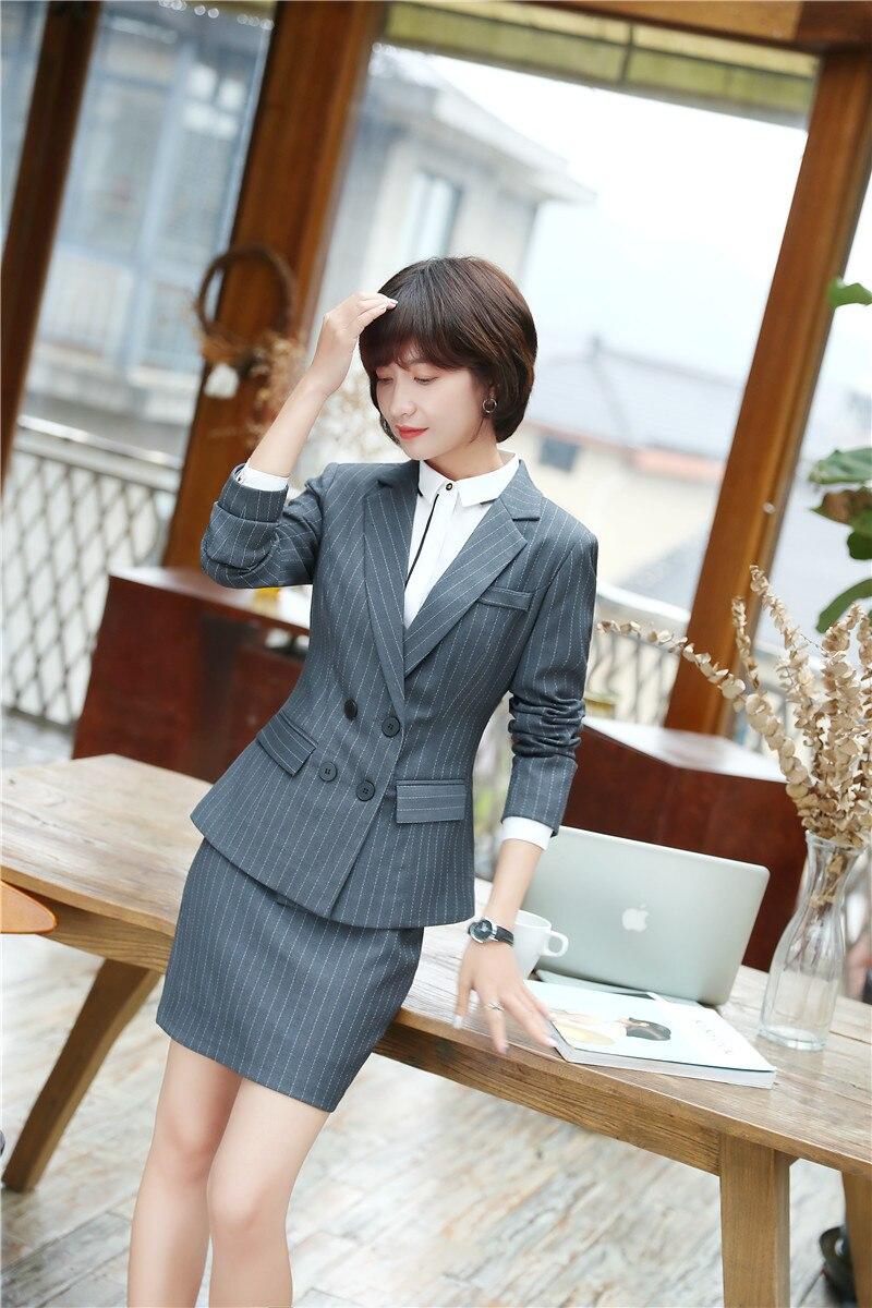 Frank Neue Stile 2018 Frühling Herbst Formale Uniformen Blazer Anzüge Mit Jacken Und Rock Business-frauen Arbeiten Tragen Gestreiften Outfits Sets