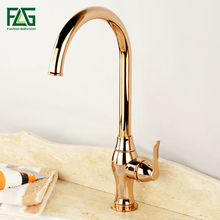 fashion luxury rose gold tall kitchen faucet, single hole hot and cold faucets bronze mixer tap