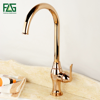 FLG Rose Gold Copper Bathroom Sink Basin Faucet Single Handle Handle Cold and hot Water Single Hole Mixer Tap Deck Mount Tap everso newly bathroom basin sink faucet waterfall widespread chrome polish single handle single hole mixer tap deck mount
