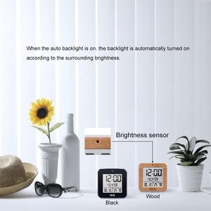 Image 3 - Fanju digital despertador led dcf rádio duplo alarme automático backlight eletrônico temperatura umidade mesa de tempo presente escritório