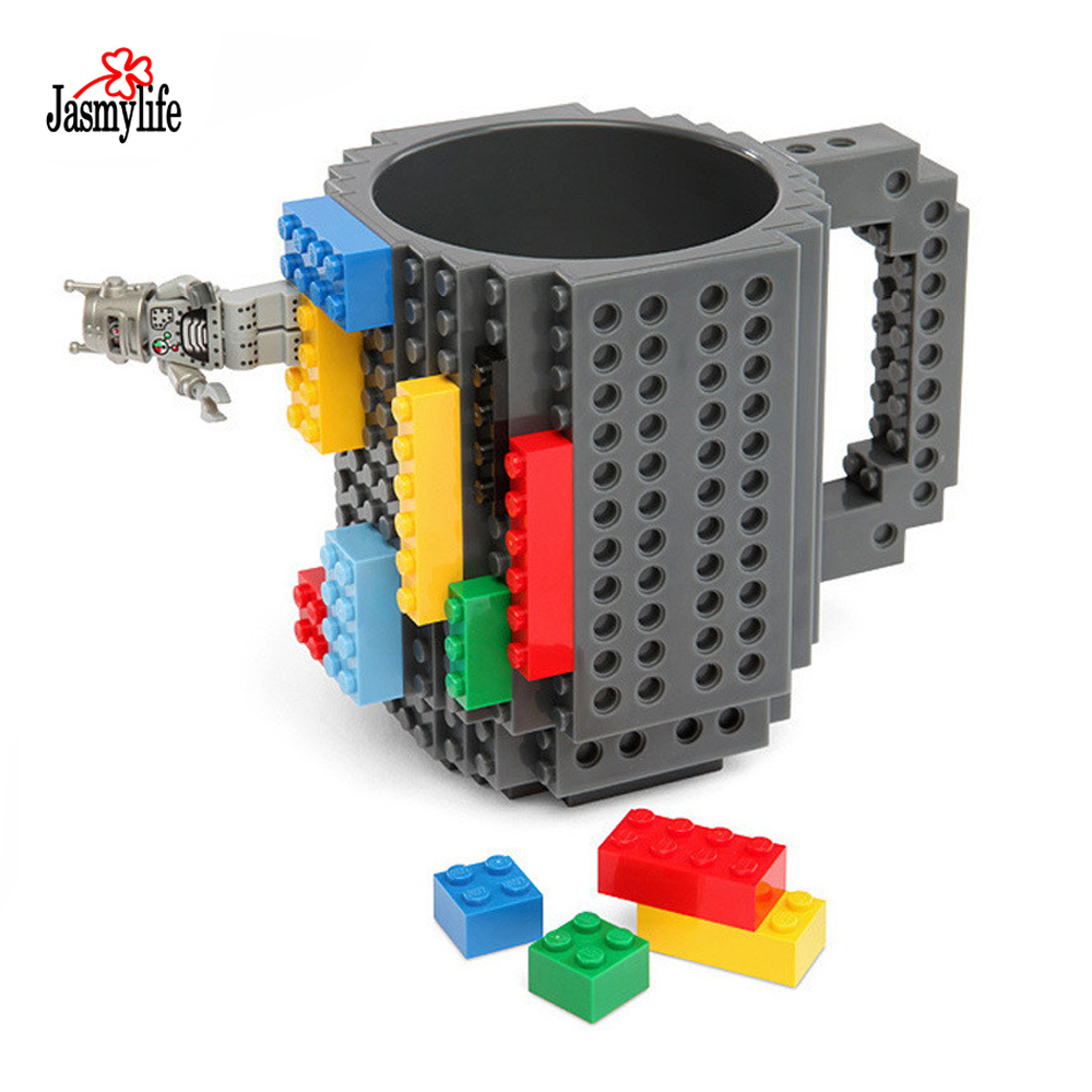 1 set Build-On Brick Mug DIY PUZZLES Bulding Blocks Coffee Mugs 12oz 350ml Creative Drinkware BPA Free Personality Cup Кубок
