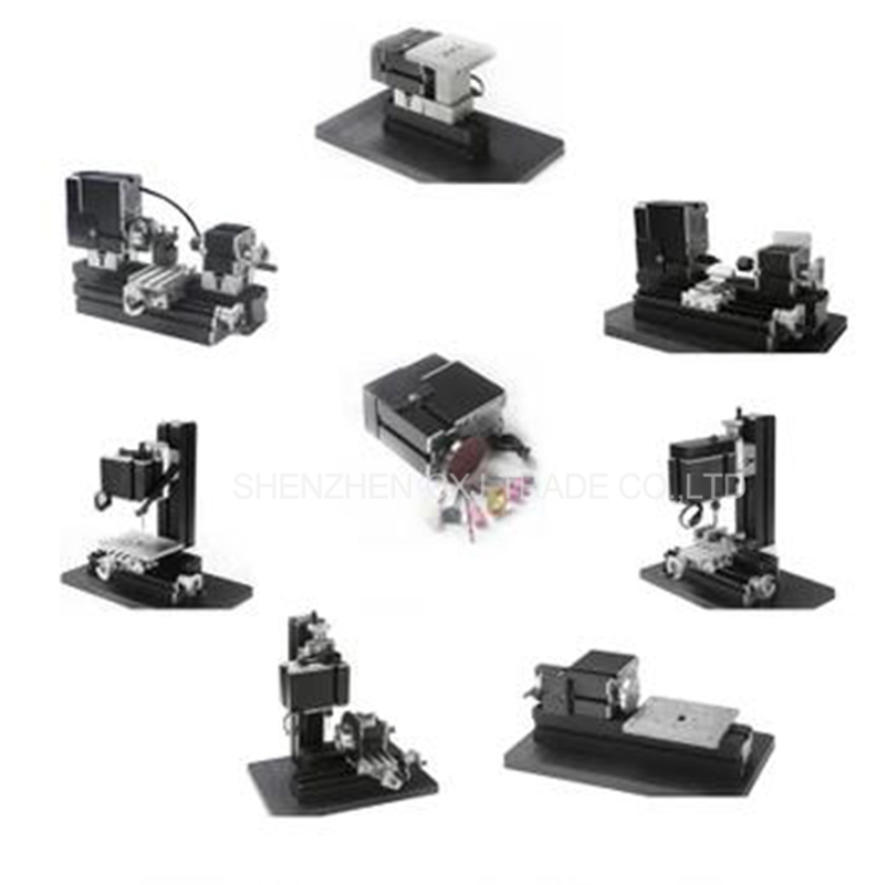 24W 8 in 1 Mini metal lathe machine Z8000M,DIY hand held drilling and milling metal machine for school and family model teaching