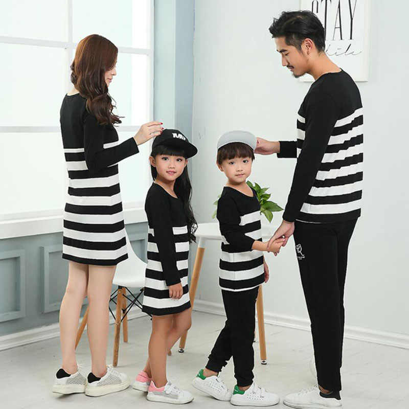 47fe4ae0c8c ... Family Clothing Mother Daughter Dresses Family Matching Outfits Striped  Father Mother Girl Boy Shirts Pants Clothes ...