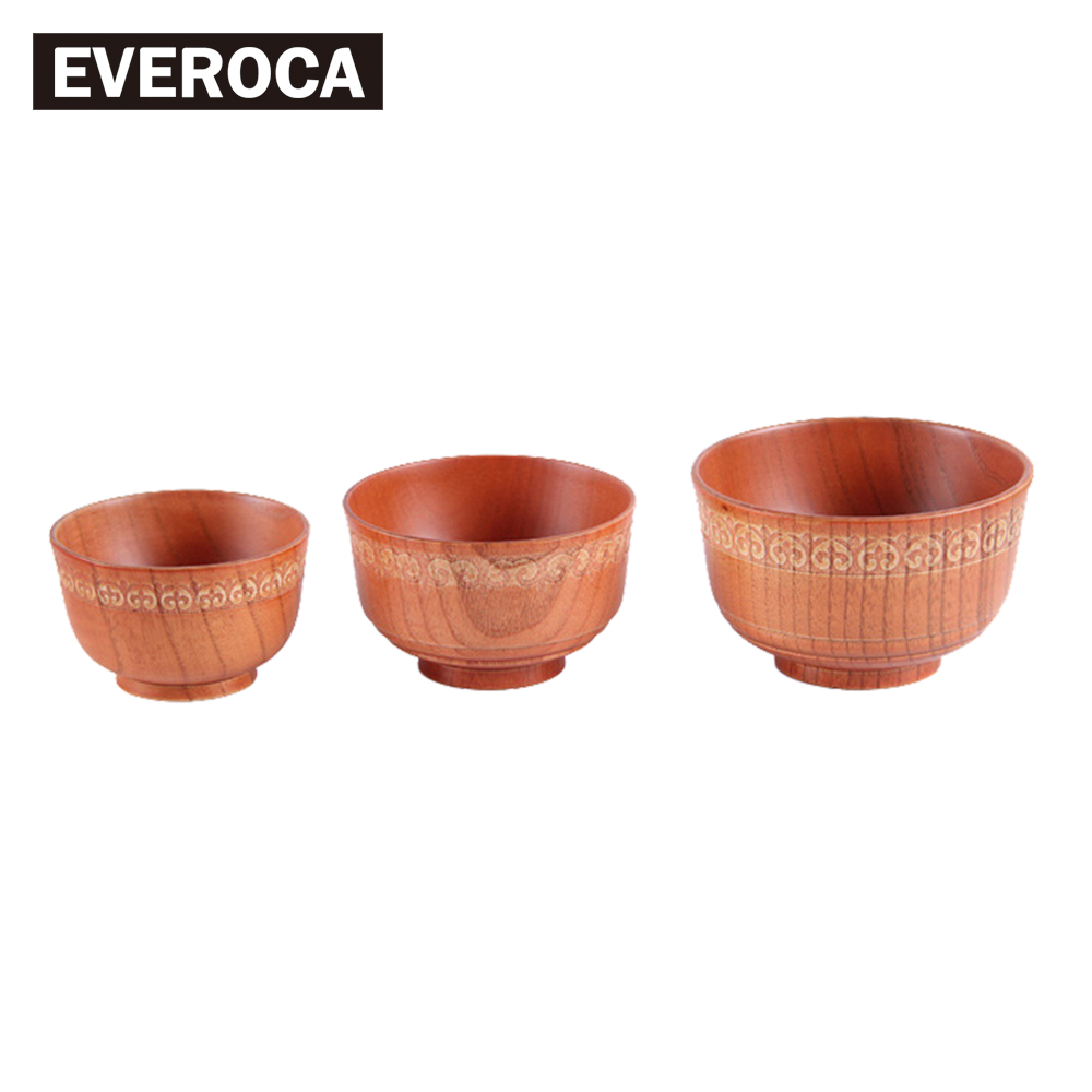 Japanese-style Wooden Rice Bowl Home Children Baby Adult Rice Bowl Large Soup Bowl Solid Wood Cutlery