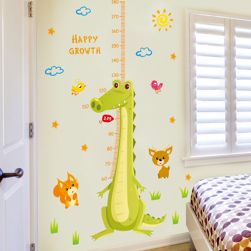 Cartoon Crocodile Home House Decoration Wall Stickers Vinyl Kids Child Living Room Bedroom Grow Height Ruler