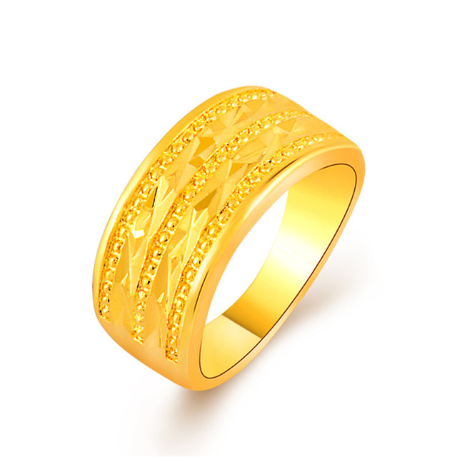 3208df9f82b504 Fancy Gold Ring For Women 24k Gold Colou Three Rows Stacked Rings For Girls  Anel Jewelry Accessories zinc alloy jewelry Anillos