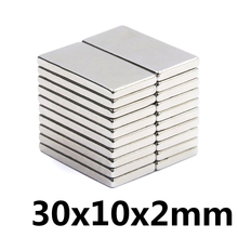 10pcs 30x10x2 mm N35 Super Strong Block Neodymium Magnets Rare Earth Magnet 30mm x 10mm x 2 mm цена 2017