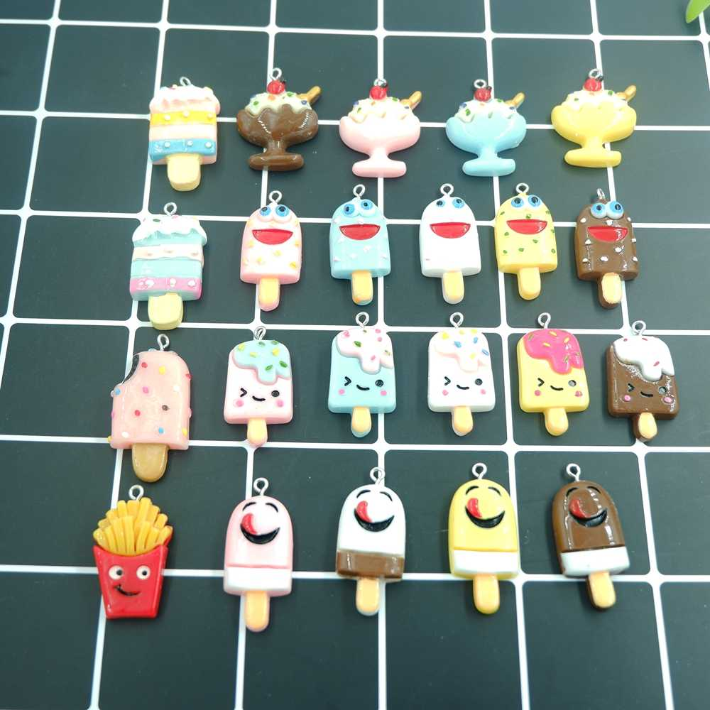 Kawaii Ice Cream Flatback Resin Charms Pendants for DIY  decoration bracelets necklace earring key chain Jewelry Making