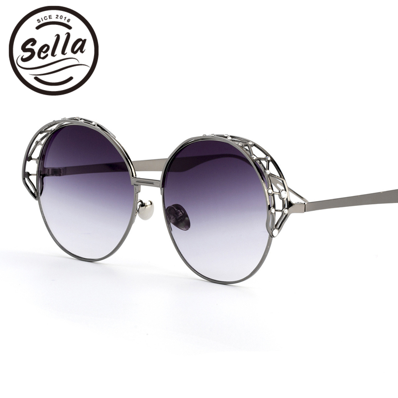 Sella New Fashion Women Gradient Lens Retro Round Sunglasses Popular Ladies Alloy Hollow Out Frame Gradient Lens Sun Glasses