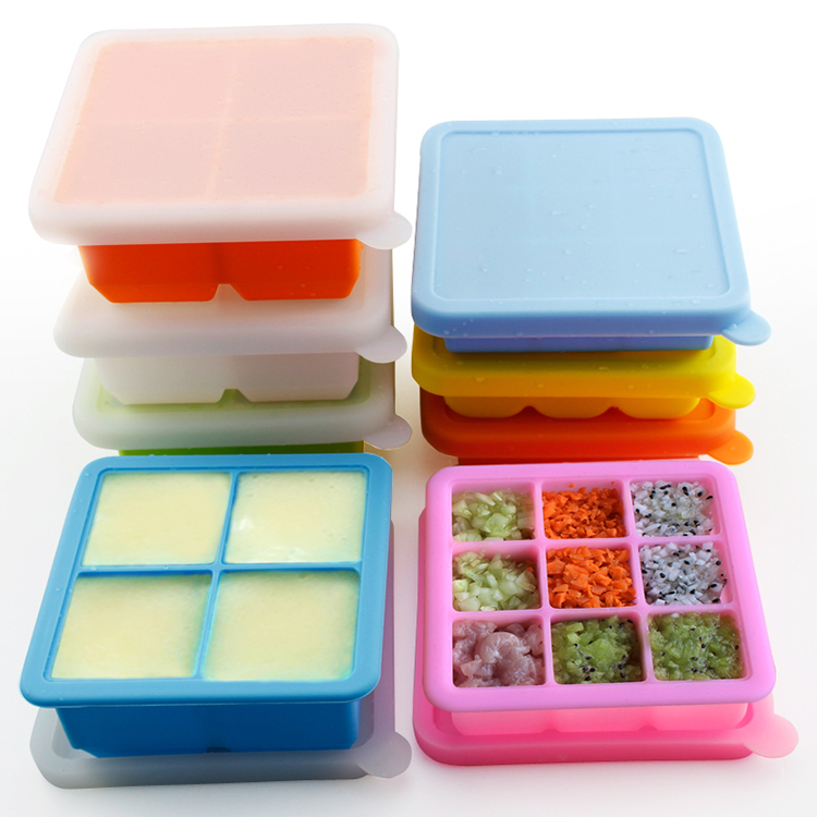 4 and 9 Cavities With Cover Lid Square Silicone Ice Cube Tray Food Storage Crisper Cake Fondant Baby Food Mold Chocolate Mould