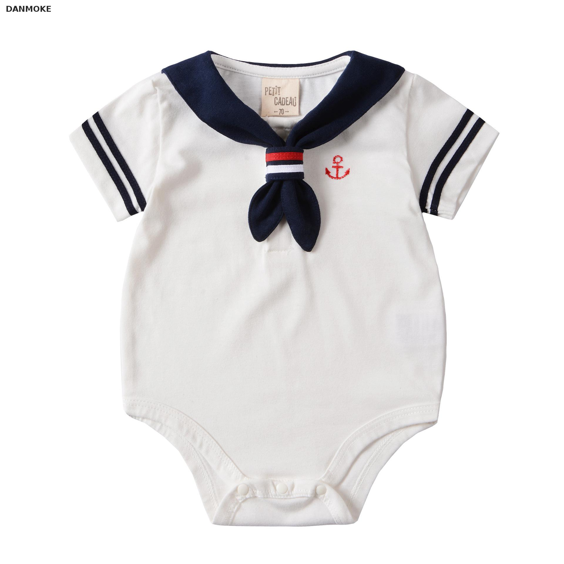Danmoke 2017 Baby Clothes White Navy Sailor Uniforms Summer Baby Rompers Short Sleeve One-pieces Jumpsuit Baby Boy Girl Clothing 2016 summer short sleeve baby boy sailor suit jumpsuit infant clothing navy newborn baby rompers
