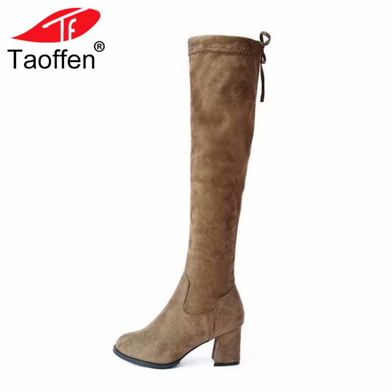 TAOFFEN Size 33-44 Women Knee High Boots Winter Plush Fur Shoes Woman Lace Up High Heels Boots Fashion Round Toe Warm Shoes