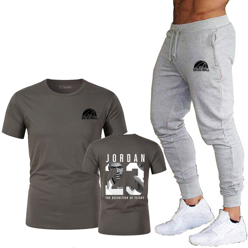 2019 new model clothes Jordan 23 males's T-shirt + pants humorous stretch cotton health booty shirt male / feminine T-shirt go well with T-Shirts, Low cost T-Shirts, 2019 new...