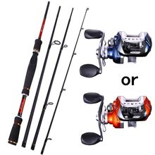 Sougayilang 4 Sections Fishing Rod Spinning 2.1m 2.4m 2.7m Carbon Spinning Rod and Baitcasting Reel Combo Lure Rod Set
