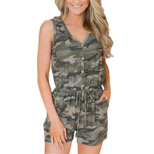 Summer Women Sexy Jumpsuits Camouflage Print Spaghetti Strap V Neck Casual SleevelessPants  7.15