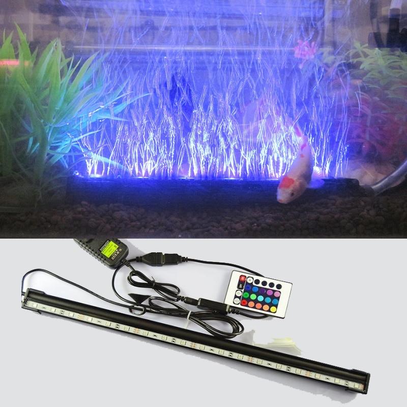 LED Remote Underwater Submersible Aquarium LED Light Air Pump Bubble Light Strip Bar Flood Light Strip & Airstone for Fish Tank