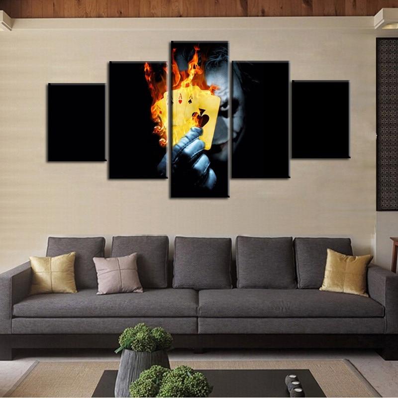 HAOCHU 5Pcs Group Canvas Painting Card Magic Clown HD Digital Print Home Decor Wall Art Backdrop Picture Living Room Supplies