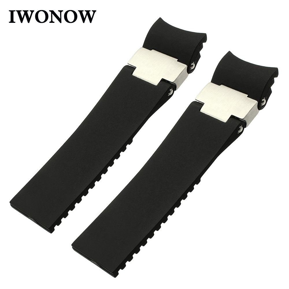 Silicone Rubber Watchband 22mm for Ulysse Nardin DIVER Men's Mechanical Watch Band Curved End Strap Steel Buckle Wrist Bracelet black silicone rubber watchband curved end for special watches sport style watch strap 22mm for replacement bracelets promotion