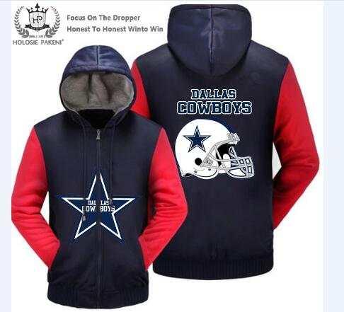 online store 81f09 f44b5 US $37.99 |Dropshipping USA Size Dallas Cowboys Men Women Winter Thicken  Fleece Coat Hooded Zipper Sweatshirt Jacket Costume Made Men Women-in  Hoodies ...