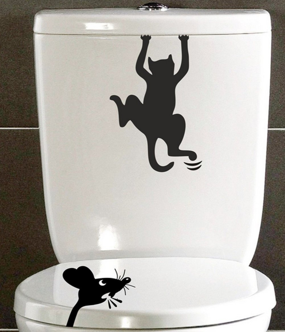 2pcs set funny cat and mouse bathroom toilet stickers diy for Waterproof bathroom murals