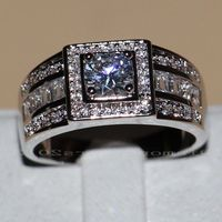 Size 7 13 Free shipping New Arrive Round Vintage Jewelry white gold filled AAA CZ Simulated stones Gem Band Men Rings gift
